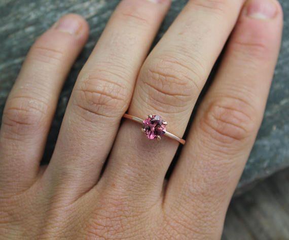 Pink Tourmaline Rose Gold Ring 6mm Cushion Cut Tourmaline
