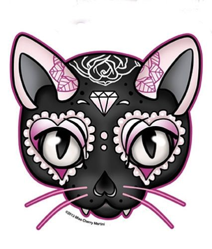 Black Pink Lucky Cat Sugar Skull Style Diamond Rose Sticker Decal | eBay