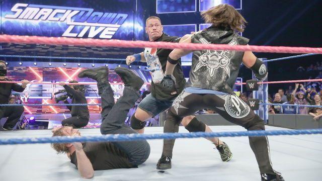 WWE Tuesday Night SmackDown LIVE 10/4/16: John Cena Dean Ambrose and AJ Styles