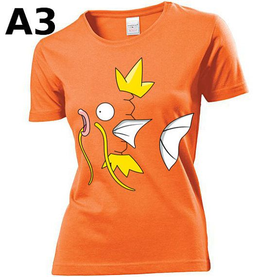 """T-shirt Orange pour Femme (différentes tailles disponibles), logo """"Magicarpe"""" - Format d'impression au choix: A3 ou A4"""