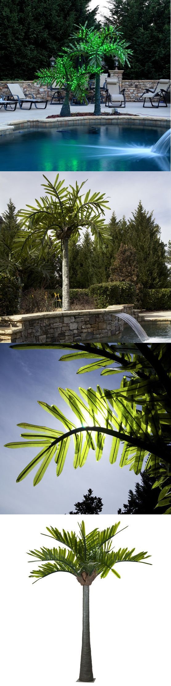 Other Outdoor Lighting 20509: 10Ft Outdoor Pool Realistic Commercial Green Led Lighted Tropical Palm Tree -> BUY IT NOW ONLY: $1499 on eBay!