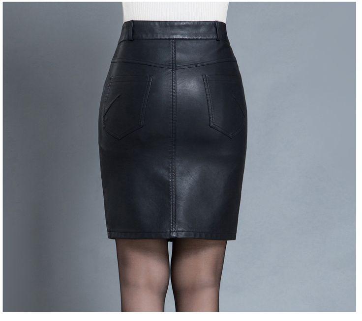 Aliexpress.com: Comprar Faldas de las mujeres de Moda de Invierno Negro de Cuero de LA PU Faldas Las Mujeres de Cintura Alta Paquete Hip Falda Lápiz Más El Tamaño de Hendidura Falda De Oficina de falda de cuero de las mujeres fiable proveedores en CAO ZHUN