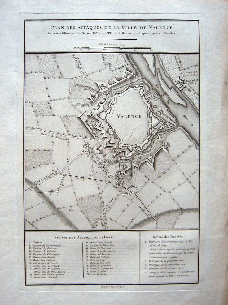 PIEMONTE  - DE LA HAYE inc. Plan des attaques de la ville de Valence...1745. 1760 ca. Rame, mm.430x280. Bella grande pianta della città e territorio circostante, fiume Po a destra. Rara