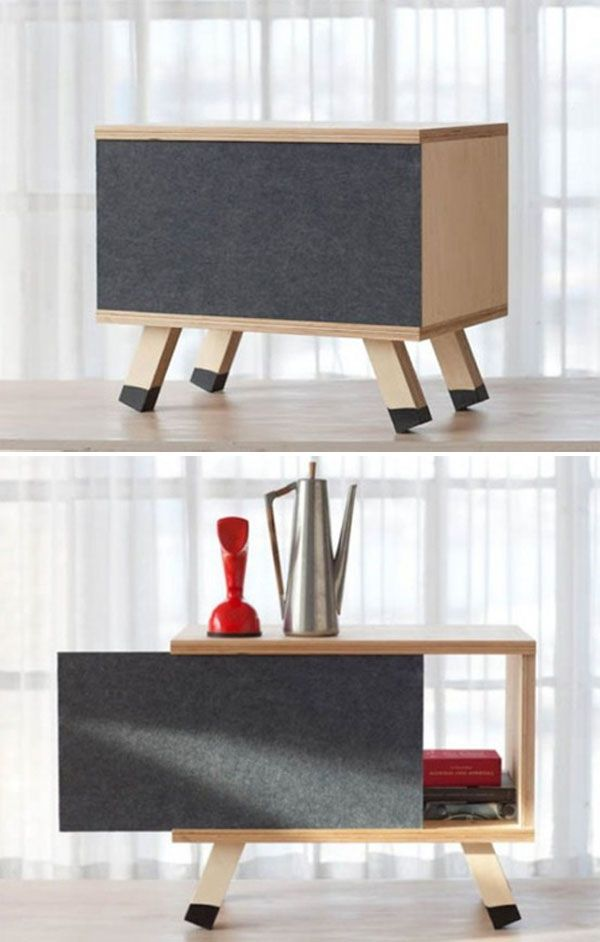 Plywood Cabinet with Sliding Door Design