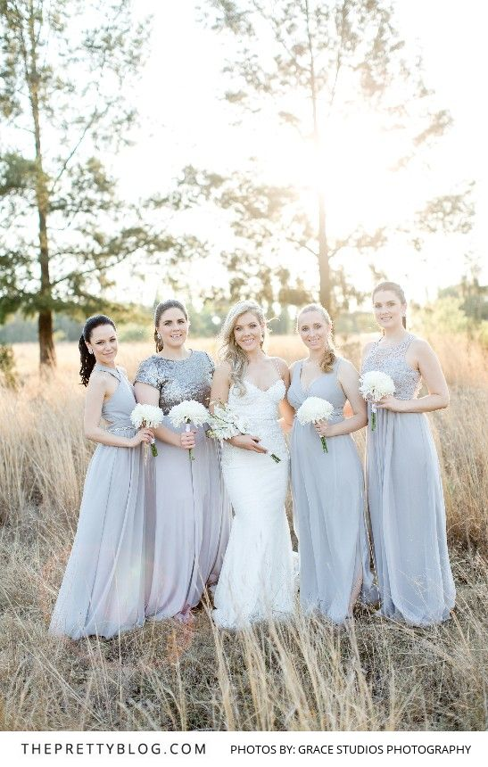 Elegant Soft Grey Bridesmaid Gowns   Photography by Grace Studios Photography   Bridesmaid Dresses by The Maiden   Brides Dress by Casey Jeanne