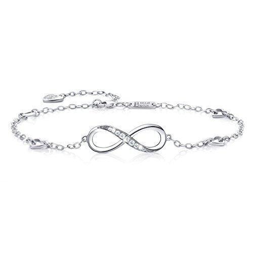 Billie Bijoux Womens 925 Sterling Silver Infinity Endless Love Symbol Charm Adjustable Anklet Bracelet, large bracelet, Gift for Christmas Day #BillieBijoux #women'sanklets