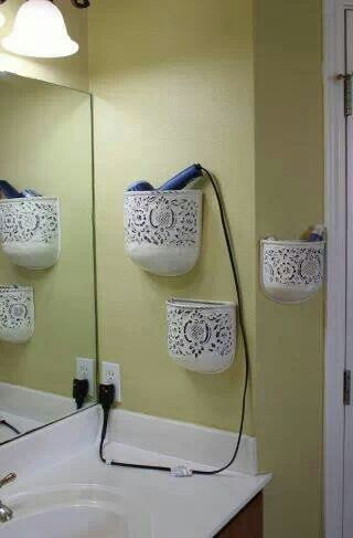 Totally doing this. Cute and functional especially for a small bathroom