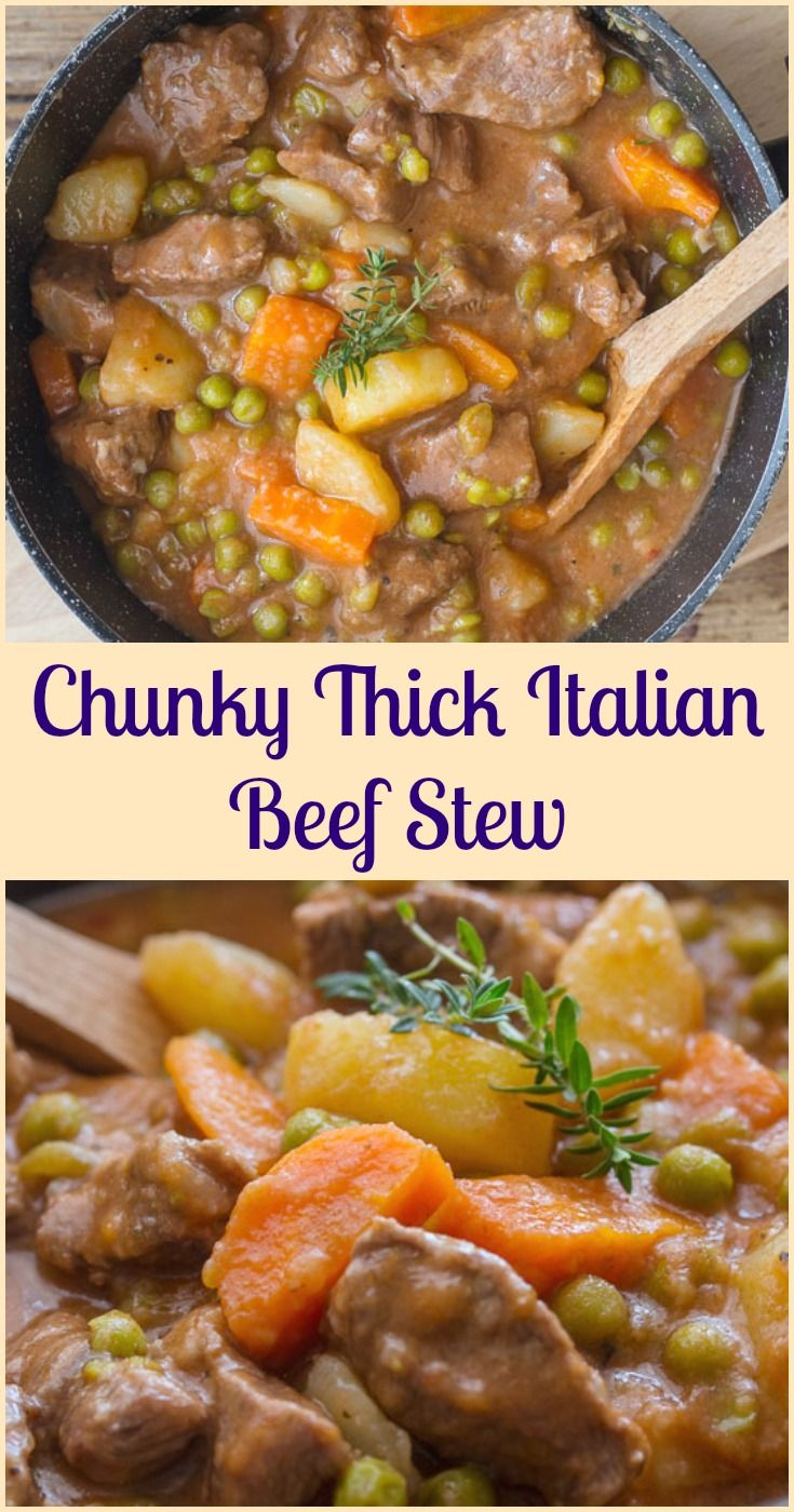 Chunky Thick Italian Beef Stew, an easy delicious healthy beef stew, Italian seasonings in a thick sauce, make it one of the best, Enjoy! via @https://it.pinterest.com/Italianinkitchn/