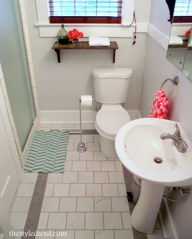 bathroom update with grey and white tile the styled soul
