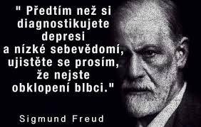 Výsledek obrázku pro Před tím, než si diagnostikujete depresi a nízké sebevědomí, ujistěte se prosím, že nejste obklopení blbci. Sigmund Freud