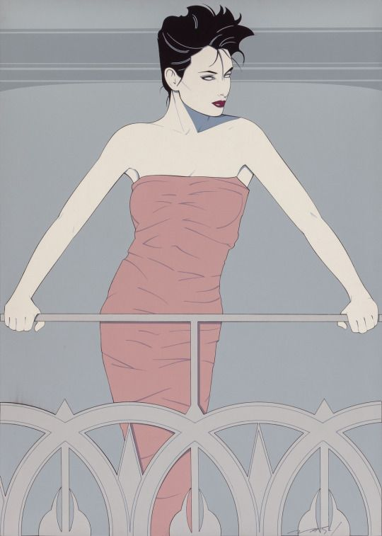 Lady Standing on Statue of Liberty, #326 and PN977 by Patrick Nagel, acrylic on canvas laid on board, 1984