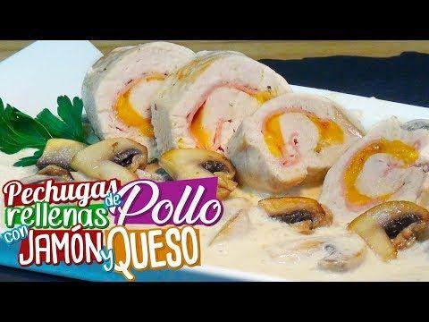 Pechugas de pollo rellenas con jamón y queso en salsa de champiñones - Recetas paso a paso - YouTube