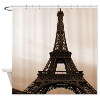 Paris home decor ideas, Paris theme room, French bathroom Eiffel Tower Sepia Photography Shower Curtain