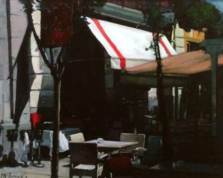 Joe McIntyre,Early Sunday Morning, Cafe, Madrid,Oils,16x20 l Scottish Contemporary Art