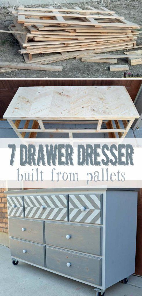 DIY Woodworking Ideas 7 drawer dresser built from pallets with a chevron top - free plans on hertoolbe...