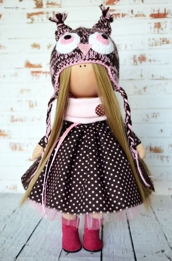 Tilda doll Owl doll Interior doll Art doll by AnnKirillartPlace