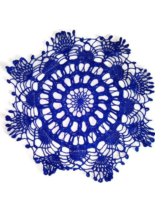 Blue crochet doily Lace round tablecloth #crochetdoily#lacetablecloth