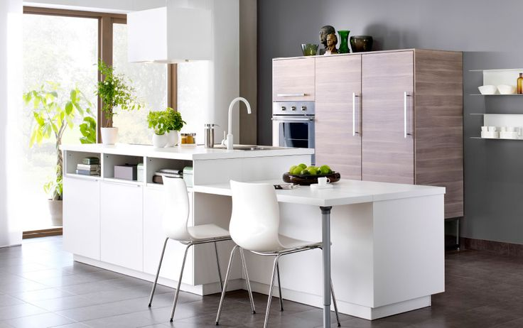 Modern white kitchen island with white VEDDINGE fronts