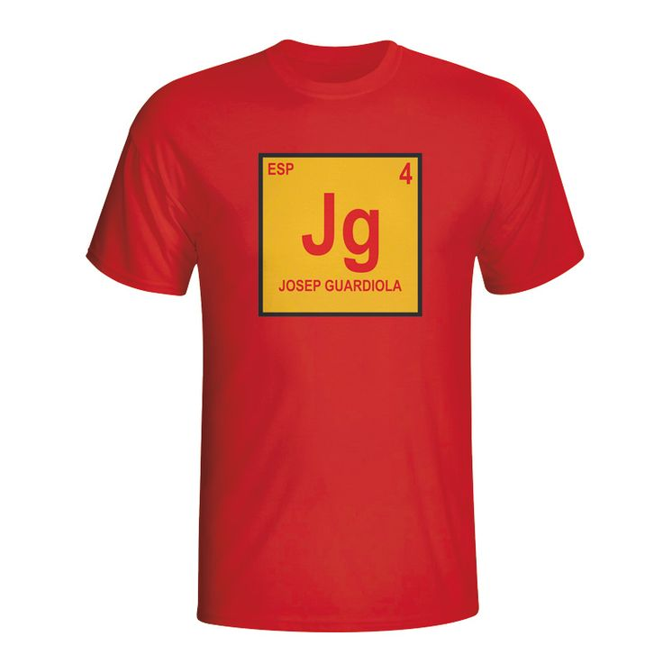 Josep Guardiola Spain Periodic Table T-shirt (red) #Sport #Football #Rugby #IceHockey
