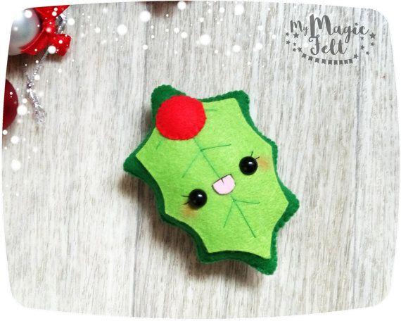 Navidad muérdago fieltro adornos de muérdago de por MyMagicFelt