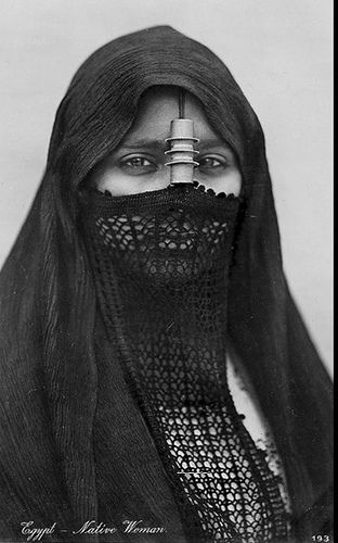 Egyptian woman veiled with burqaa' (1923 ) | photographer not specified