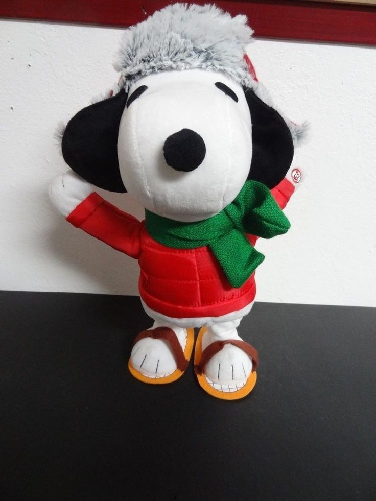 Dancing Snoopy Peanuts in snowshoes Winter Snow Christmas Holidays GEMMY 2016