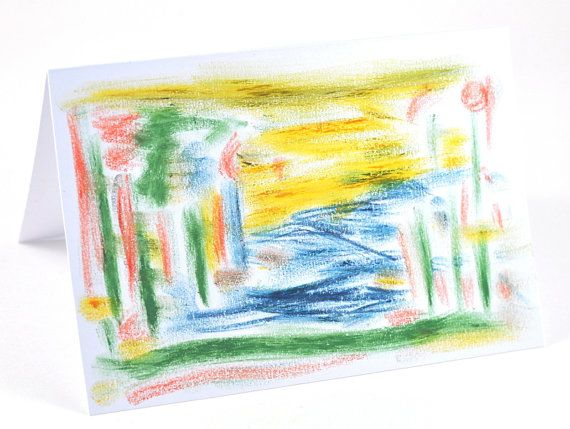 This Blank Greeting Card features an ORIGINAL Abstract Art Landscape Drawing in Pastels and being blank is suitable for any occasion - it is also suitable for framing, and is hand signed. This artwork is available in my Etsy store by DeeDeeDeesigns, $13.50