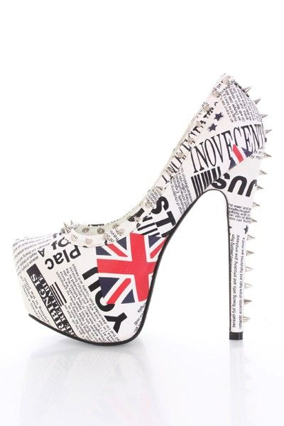 London Print Faux Leather Spike Studded Platform Heels @ Amiclubwear Heel Shoes online store sales:Stiletto Heel Shoes,High Heel Pumps,Womens High Heel Shoes,Prom Shoes,Summer Shoes,Spring Shoes,Spool Heel,Womens Dress Shoes,Prom Heels,Prom Pumps,High Hee