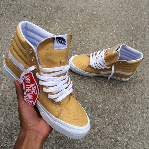 Gold Vans Sk8 Hi Custom painted vans. Mens 8. Worn once. Other sizes available for order through my website in bio on my Instagram @TheRealMarcyyMarc Vans Shoes - mens skate shoes, mens shoes boots, mens fashion shoes casual