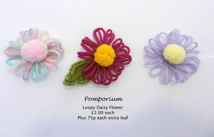 Pompom & loom daisy flowers @ www.facebook.com/pomporium/