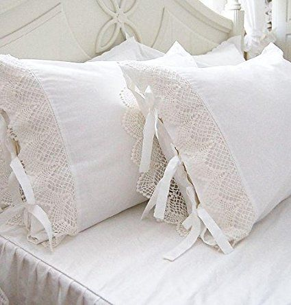 """One Piece Shabby Victorian Style White Wide Lace Matching Pillowcase Sham 1117 (Standard  20""""x30"""")"""