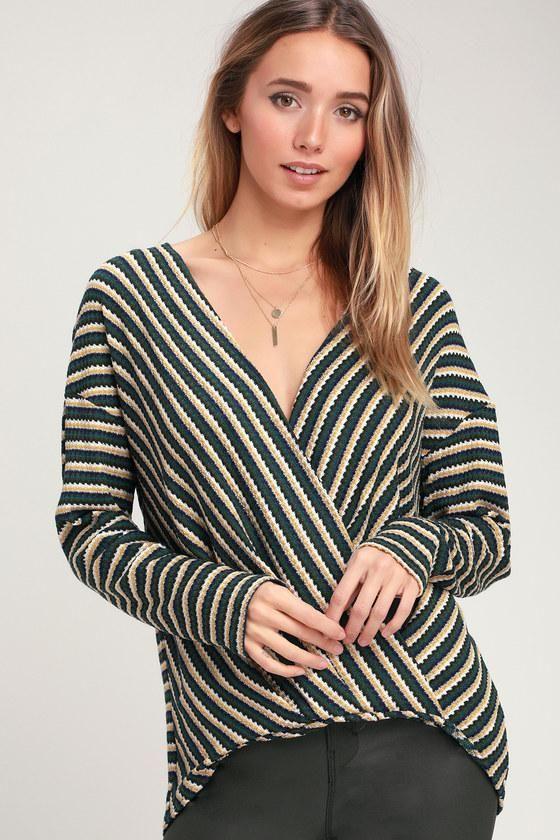 57555874079  AdoreWe  Lulus -  Lulus Shoshanna Green Striped Surplice Thermal Top -  Lulus -