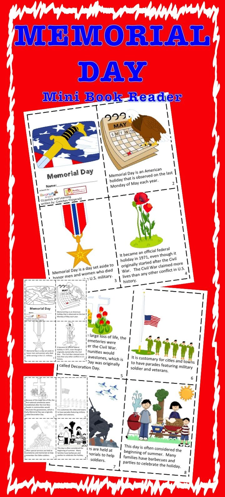 memorial day mini book printable