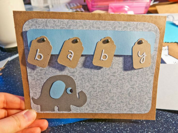 Personalized Baby Shower Card - Baby Boy Blue