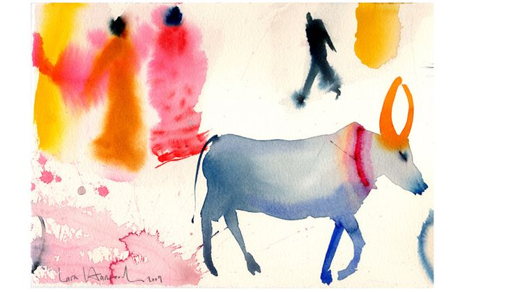 Indian Holy cow, watercolor by Lara Harwood: Art Spaces, Friends Lara, Factories Artists, 3D Prints, Lara Harwood, Cows Lara, Art Infantil, Harwood Www Laraharwood Co Uk, Watercolor Prints