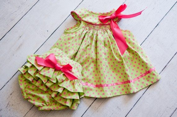 Smocked baby outfit