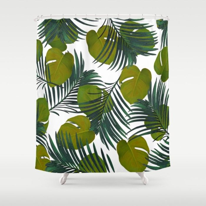 Tropical Shower Curtain, Green Shower Curtain, Tropical Leaf Bath Decor, Palm Bathroom Accessories, Hollywood Glam Leaf Print, Palm Leaves by OlaHolaHolaBaby on Etsy