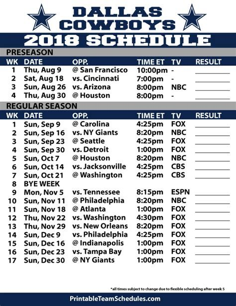 Cowboys Schedule 2019 Printable 2018 2019 Dallas Cowboys | Football | Dallas cowboys
