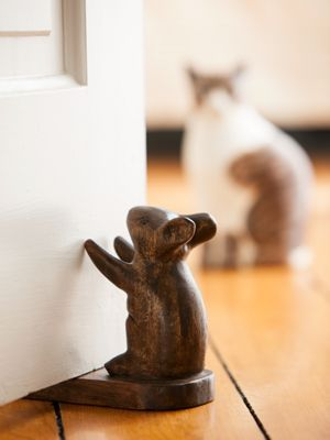 Hand-carved Wooden Doorstops In 4 Styles: Dog, Cat, Mouse & Bird