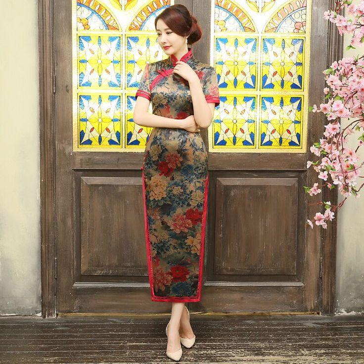 New Arrival Fashion Silk Satin Long Cheongsam Chinese Women's Dress Elegant Slim Qipao Vestidos Size S M L XL XXL XXXL 1457390