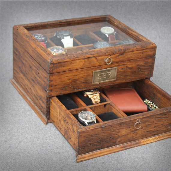 Personalized Rustic Men's Watch Box for 12 watches with drawer and glass top