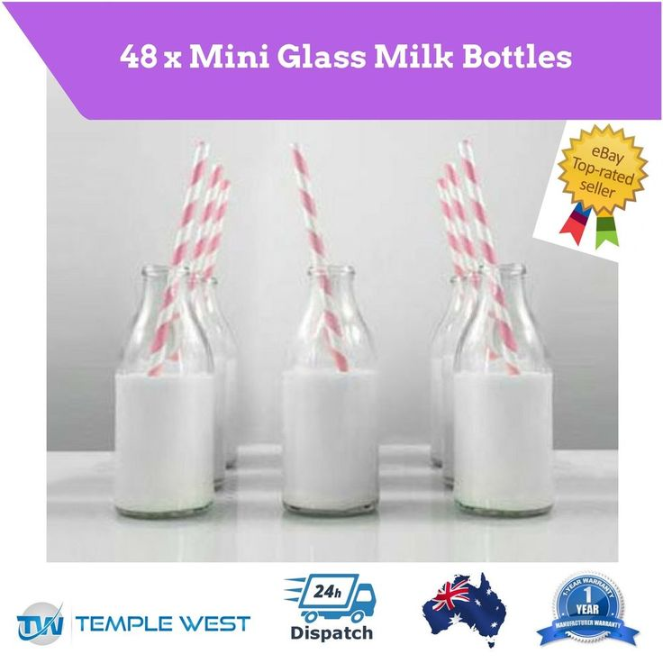48x Mini Glass Drinking Bottles Vintage Milk Kids Party Wedding Baby 140ml NEW