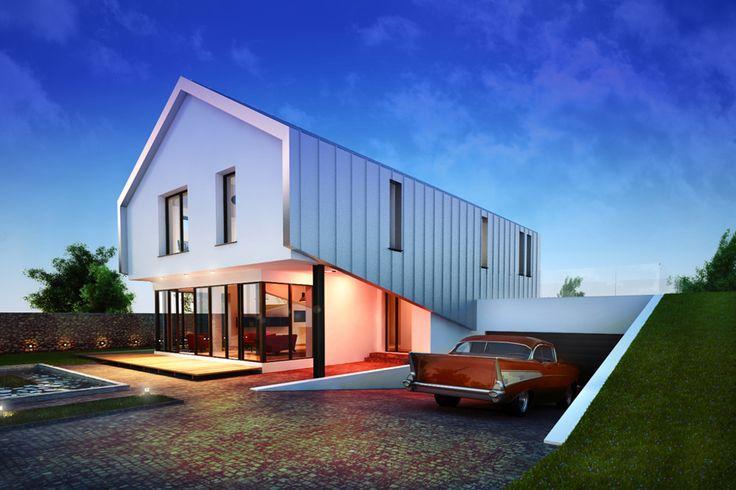 Budynek mieszkalny jednorodzinny, dwukondygnacyjny o prostej minimalistycznej bryle okrytej powłoką ze stali cynkowo tytanowej stanowiącej ochronę dla podcienia wejścia i przeszklonego pokoju dziennego.