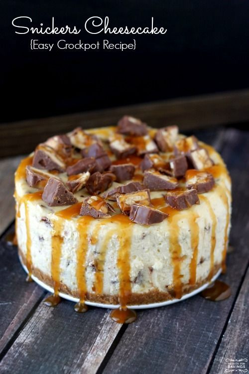 """Homemade Snickers Cheesecake - This is a very good recipe for a small cheesecake. I made mine in the oven (350 for 15 minutes, 250 for 90 minutes) and it came out great. Was willing to try the crockpot, but my springform pan wouldn't fit. As pictured, that's a very small springform pan. Mine is an 8"""" and made a thin cheesecake. Tasted great and was an easy recipe to follow!"""