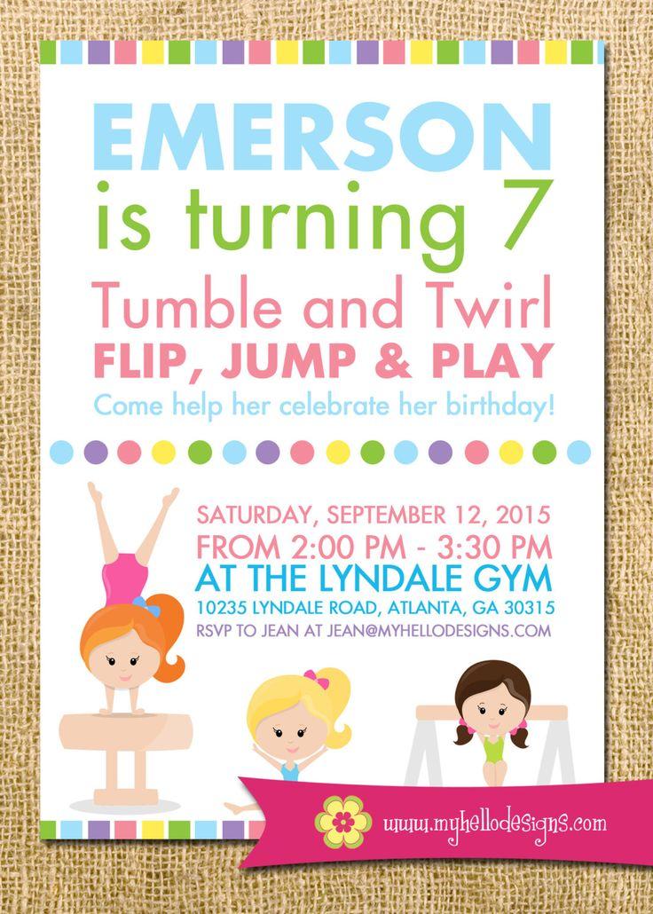 7 best Gymnastics Party Invitations images on Pinterest | Birthday ...