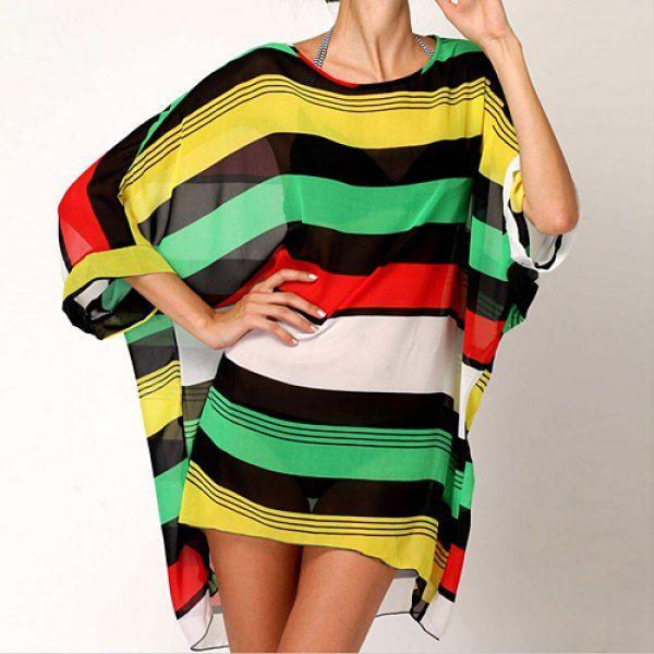 Stylish Striped Scoop Neck Bikini Color Block Cover For Women, COLORFUL, ONE SIZE in Swimwear   DressLily.com