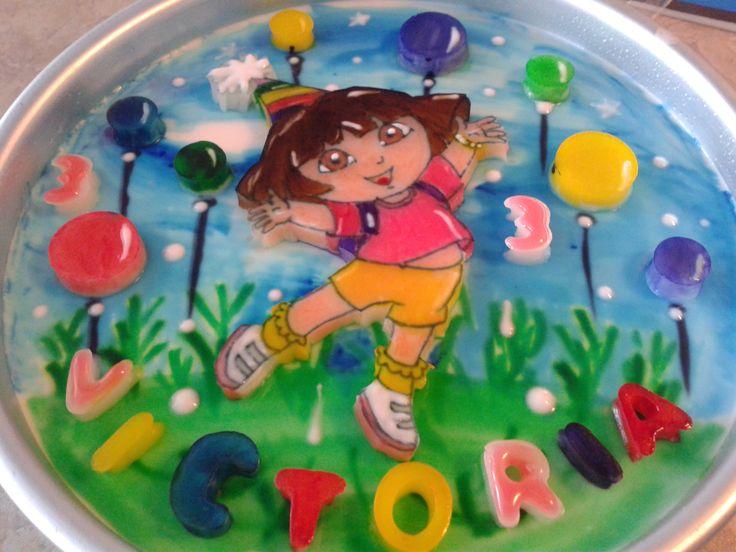 """Gelatina 8"""", capas de colores, motivo Dora."""