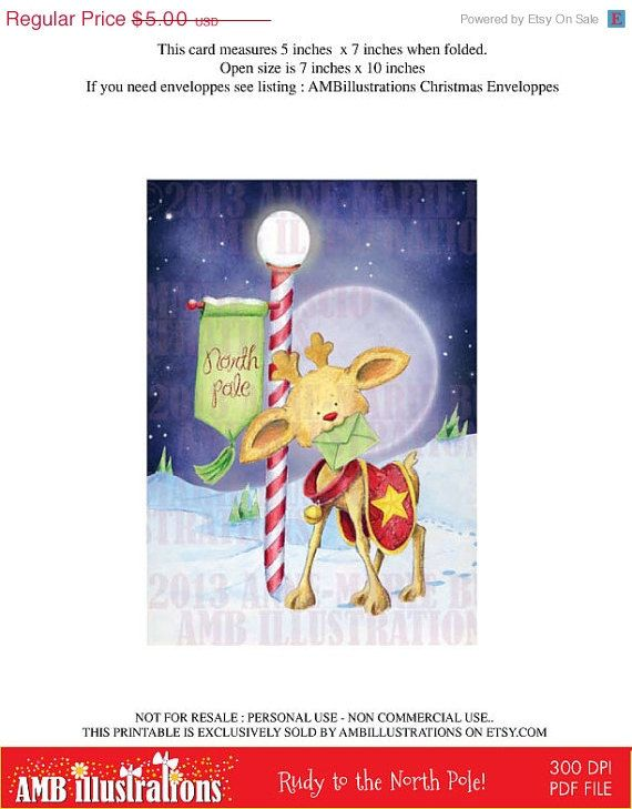 Rudy delivers a letter to the north pole! Perfect card ready to print find it on etsy! https://www.etsy.com/listing/160604607/40-off-printable-christmas-cards-diy?ref=related-1