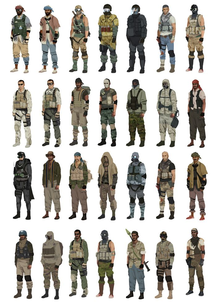Early character design charts made for Battlefield Play4Free (2011), exploring visual variation through modular customization.