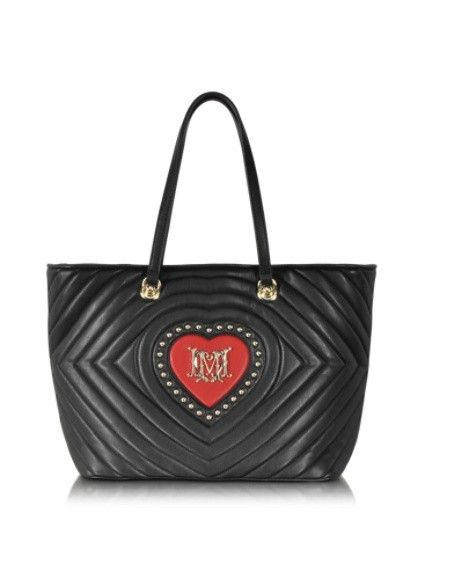 LOVE MOSCHINO BLACK QUILTED & RED HEART ECO LEATHER TOTE